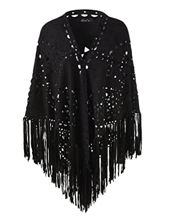 997a7f46b Ferand Ladies' Elegant Faux Suede Open Poncho Shawl Wrap with Laser Cut  Patterns and Statement