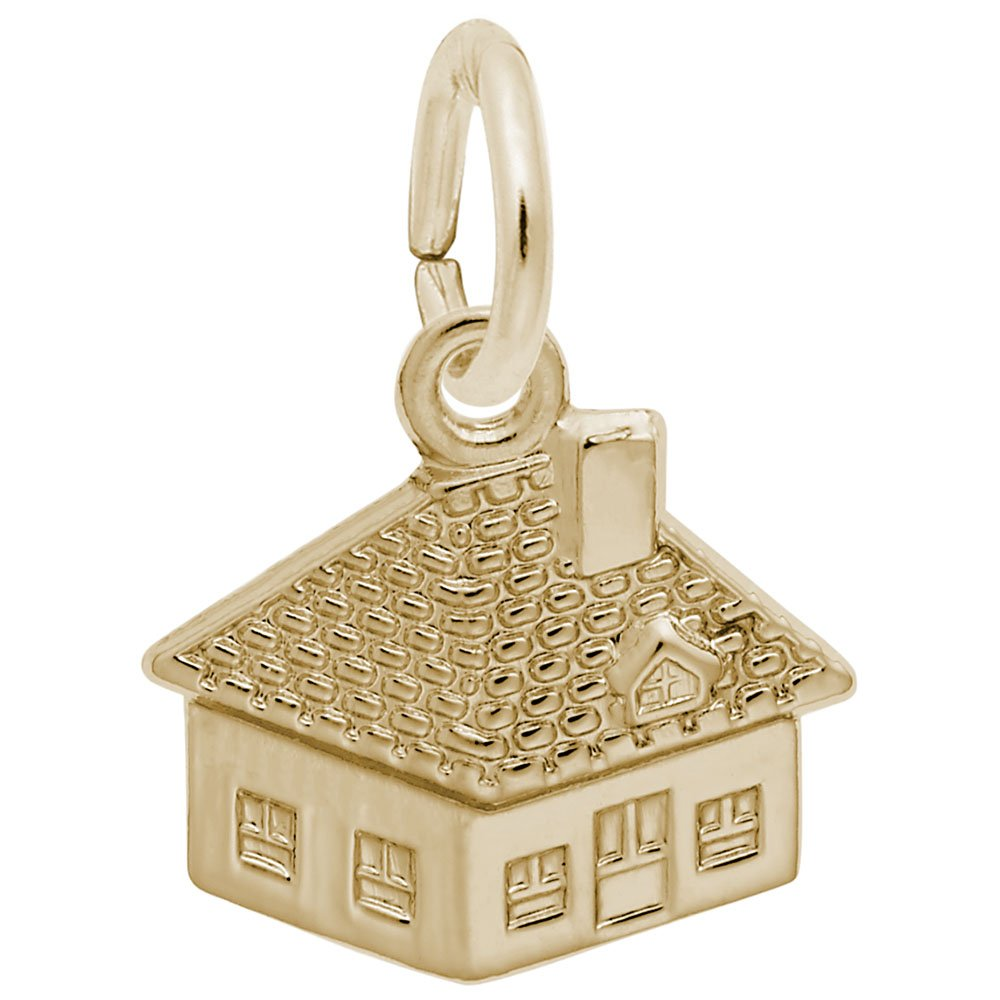 10k Yellow Gold House Charm, Charms for Bracelets and Necklaces