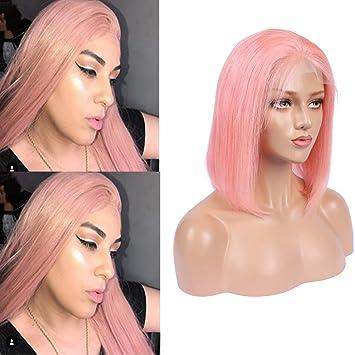 0ffb9c13951 Amazon.com : Cloud Hair Baby Pink Colored Short Bob Cut Human Hair ...