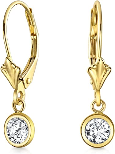 14kt Solid Yellow Gold Dangle Round Hinged lever back Modern Earrings