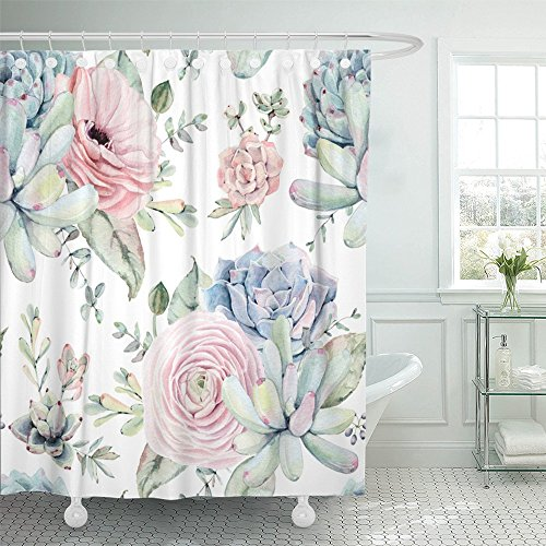 Emvency Shower Curtain 66x72 Inches Green Watercolor Succulents with Objects Plants Roses Hand Vintage Gardening Mildew Resistant Machine Washable