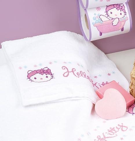 Vervaco Kit para punto de cruz en toalla de mana, con diseño de Hello Kitty