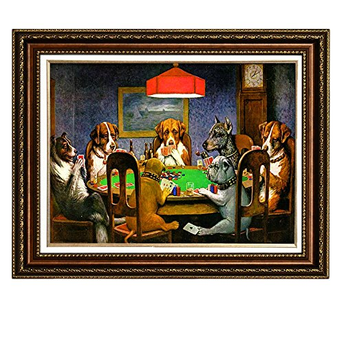 Framed Painting (Eliteart-Dogs Playing Poker by Cassius Marcellus Coolidge Oil Painting Reproduction Giclee Wall Art Canvas Prints-Framed Size:28 1/2