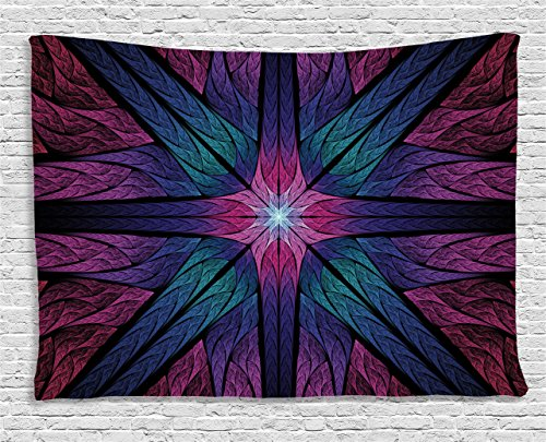 - Ambesonne Fractal Tapestry, Psychedelic Colorful Sacred Symmetrical Stained Glass Figure Vibrant Artsy Design, Wall Hanging for Bedroom Living Room Dorm, 60 W X 40 L Inches, Indigo Plum