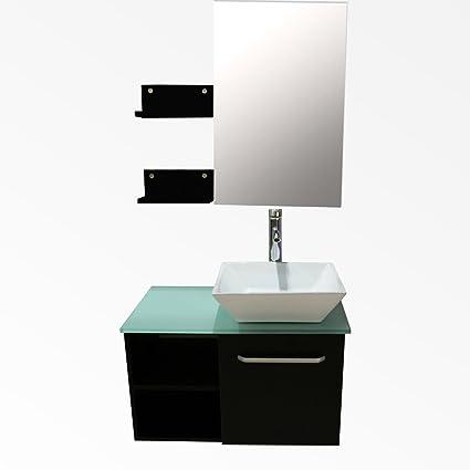 bathroom vanity and sink combo. Sliverylake 28  Top Single Sink Bathroom Vanity Combo Square Porcelain Ceramic Vessel Wood Wall