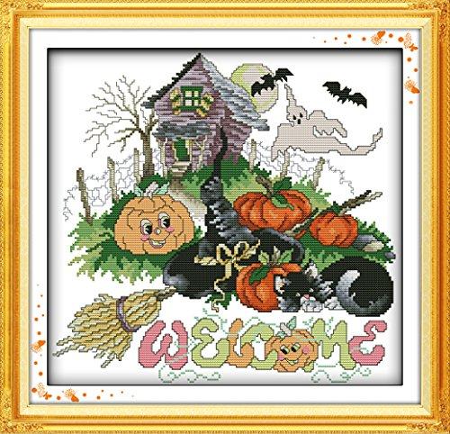 WHEEXLOCK Counted Cross Stitch Kits Halloween Pumpkin 11 Count 18.1