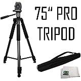 "75"" Professional Heavy Duty 3-Way Pan Head Tripod For Canon 5D Mark III, 5D Mark II, SL1, 60D, 7D, 7D Mark II, T6i, T6, SX510 HS, SX520 HS, SX530 HS, SX60 HS, SX50 HS, G1 X & EOS M Digital Cameras"