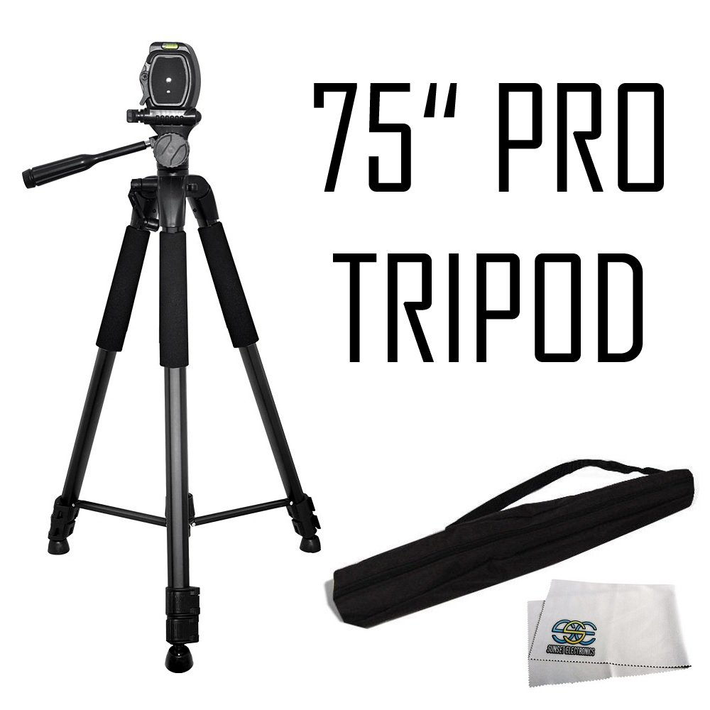 "75"" Professional Heavy Duty 3-Way Pan Head Tripod For Canon 5D Mark III, 5D Mark II, SL1, 60D, 7D, 7D Mark II, T6i, T6, SX510 HS, SX520 HS, SX530 HS, SX60 HS, SX50 HS, G1 X & EOS M Digital Cameras"
