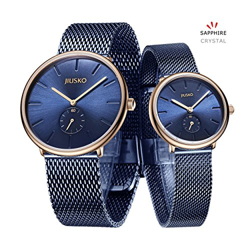 Jiusko Sapphire - Men Women Quartz Watches - Steel Mesh (His & Hers, Blue - Rosetone) by JIUSKO