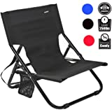 Sheenive Folding Camping Chair - Outdoor Comfortable Compact Low Profile Portable Armless Camping Chairs For Adults Kids Travel Summer with Strap And Pocket