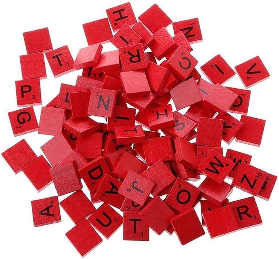 ToomLight 100Pcs/set Colorful English Words Wooden Letters Alphabet Tiles Black Scrabble Letters & Numbers (Red): Amazon.es: Hogar