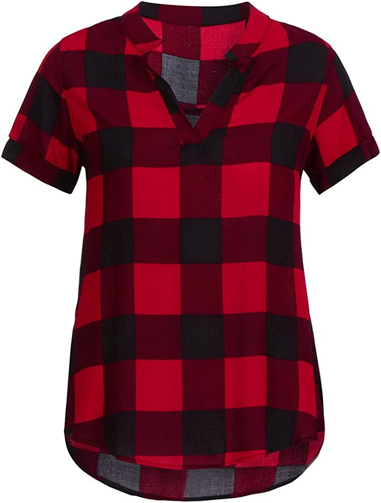 Tops T-Shirt,Women Casual Plaid Printed Tunic Short Sleeve V-Neck Irregular Hem Blouse by MEEYA Red