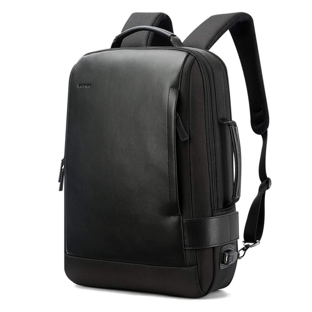 Notebook Backpack Black Contractive Leather Backpack For Men USB Charging Male Travel Backpack Nylon Mens Rucksacks anhuwgjcb