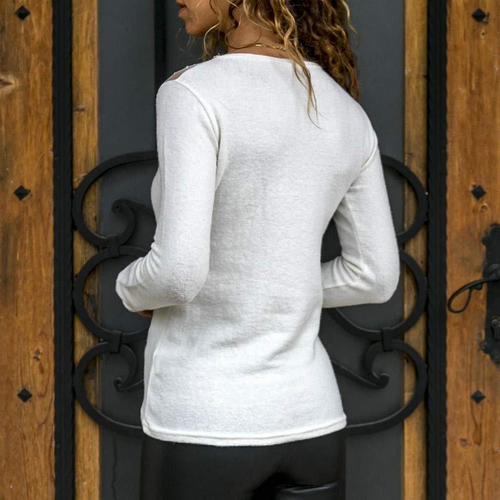 ❤️Binggong Pull Femme Hiver Chaud Pullover Pas Cher A La Mode Tops Femmes Chemisier Mousseline de Soie T-Shirt Solide Bureau des Dames /à Manches Longues Blouses