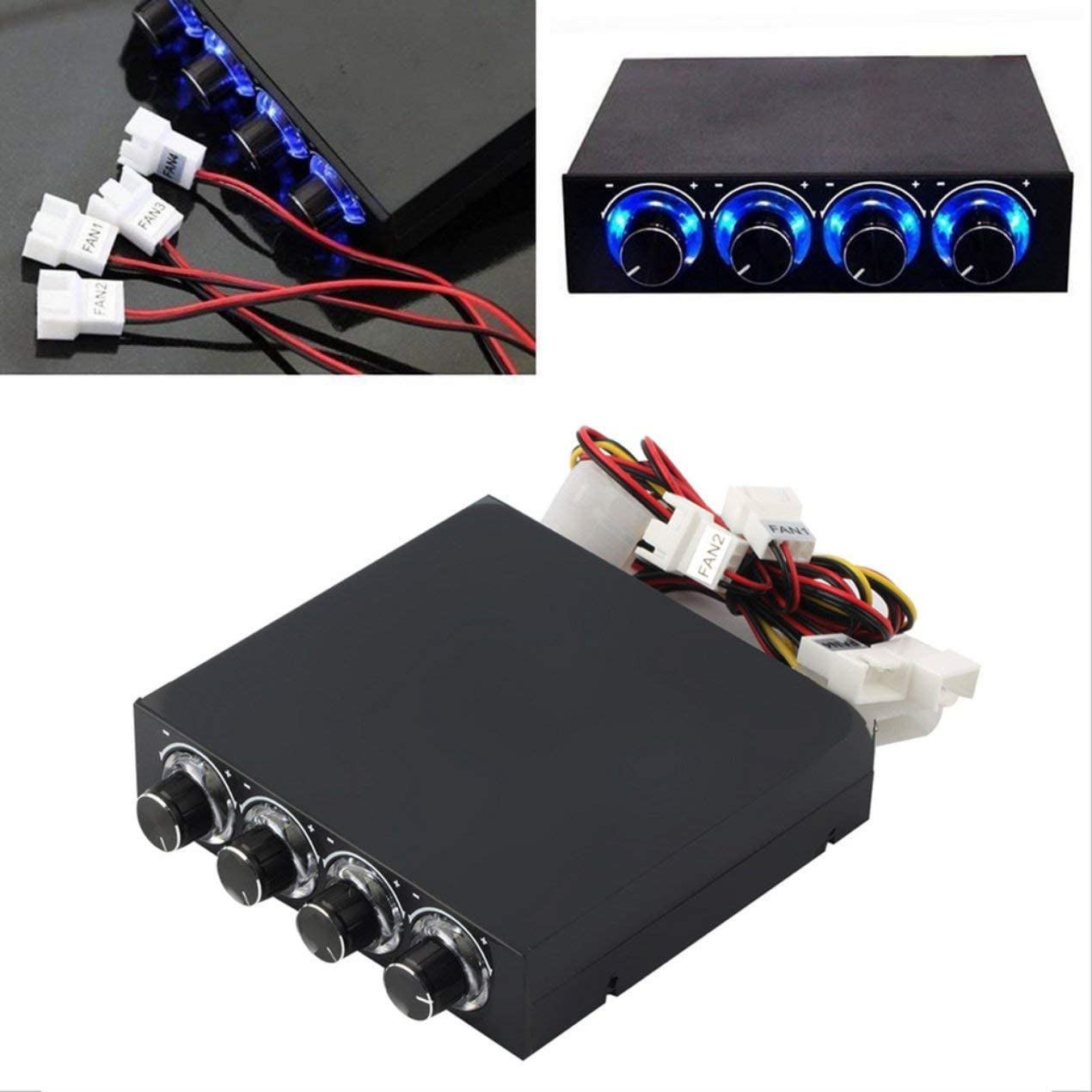 Jullynice 3.5inch PC Case PC HDD CPU 4 Channel Fan Speed Controller with Blue LED Speed Fan Control Cooling Front Panel