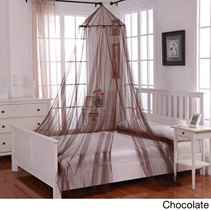 Girls Chocolate Hanging Brown Bed Canopy Ceiling Bed Frame Draperies Bedroom Mosquito Netting to Floor & Amazon.com: Girls Chocolate Hanging Brown Bed Canopy Ceiling Bed ...