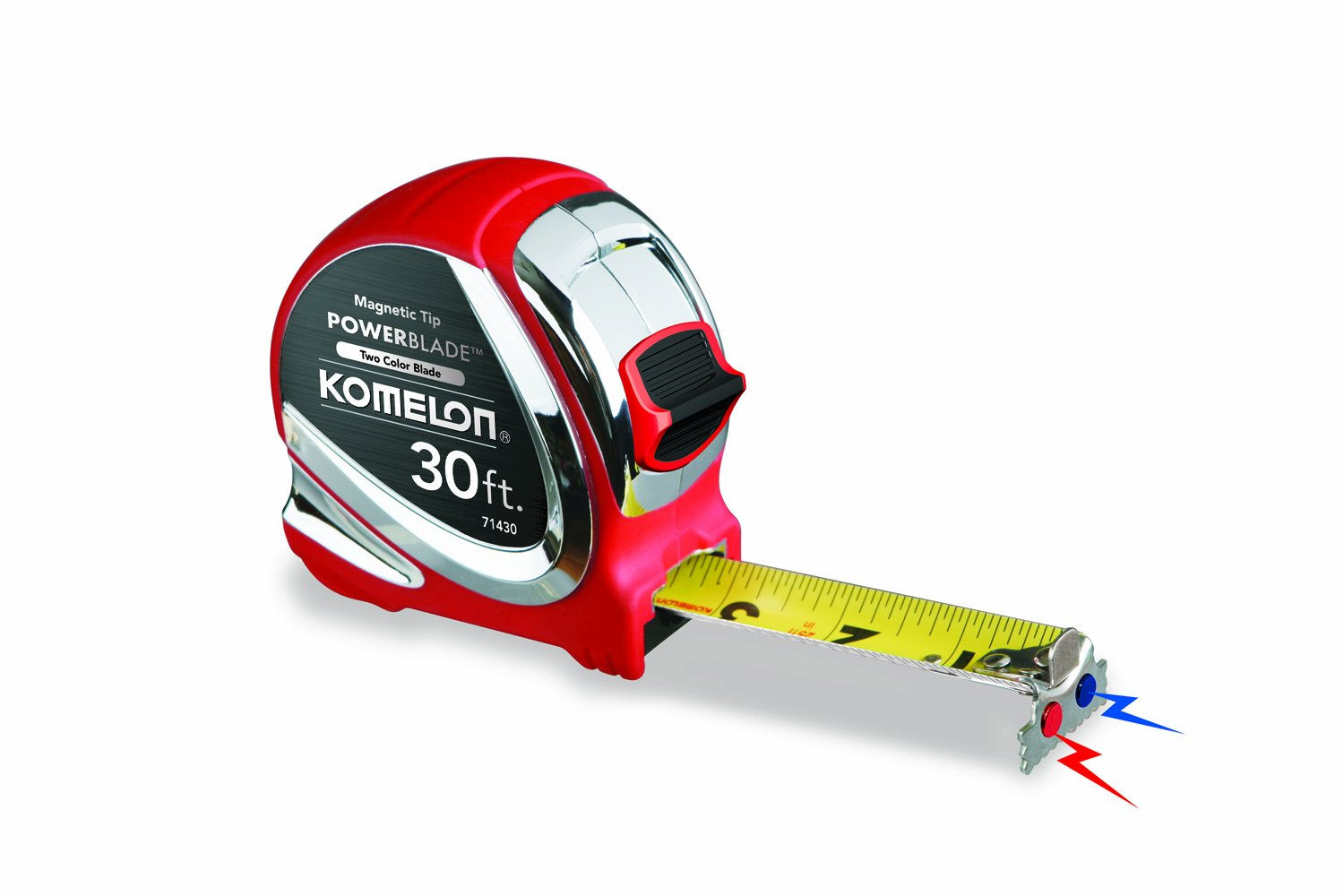 Komelon 71430 30-Foot x 1.06-Inch Magnetic PowerBlade Tape Measure by Komelon