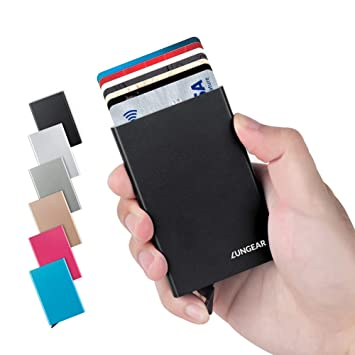 9cb77c269741c LunGear Credit Card Holder with RFID Blocking Aluminum Pop-up Card  Protector Metal Front Pocket