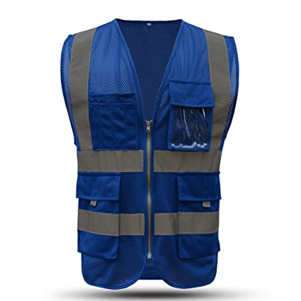 e5dee3c77 X-large Blue safety vest reflective with pockets and zipper High Visibility  Reflective Stripes Multi Pocket Hi vis Mesh Vest for men and woman (XL, ...