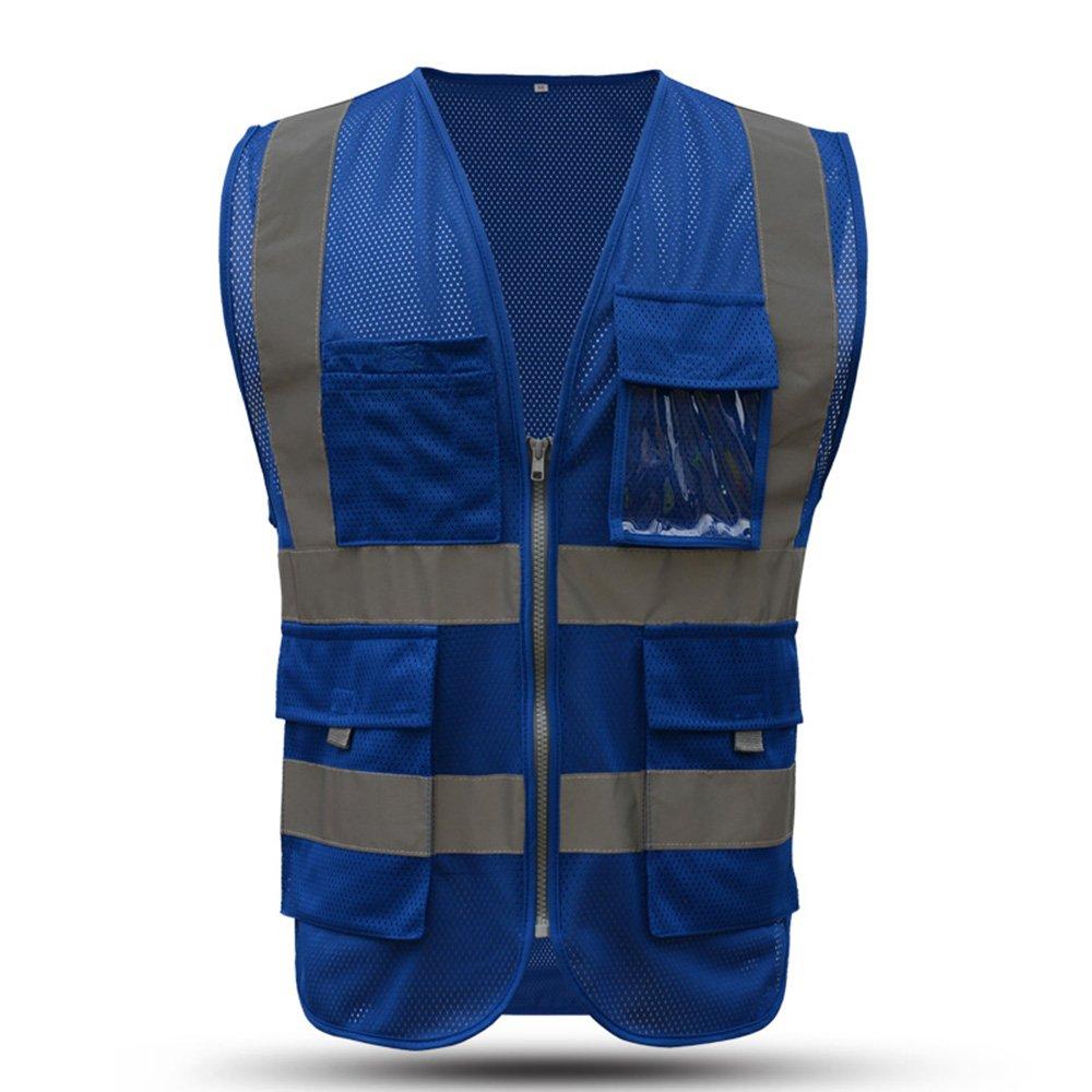 X-large Blue safety vest reflective with pockets and zipper|High Visibility Reflective Stripes|Multi Pocket Hi vis Mesh Vest for men and woman(XL, Blue)