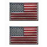 2 pieces Tactical USA Flag Patch -Subdued Silver- American Flag Embroidered ...