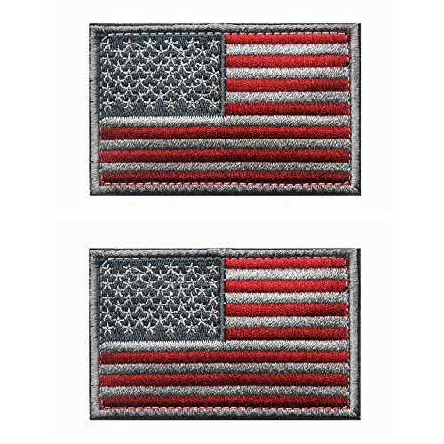 Tactical USA Flag Patch -Subdued Silver- Velcro American Flag Embroidered Red Border US United States of America Military Uniform Emblem Patches-2 pieces
