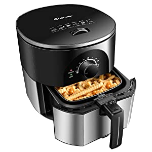 Costzon Air Fryer, 3.5Qt 1300W Electric Stainless Oil-less Oven Cooker, Smart Time & Temperature Control, Non Stick Fry Square Basket, Auto Shut Off (Sliver)