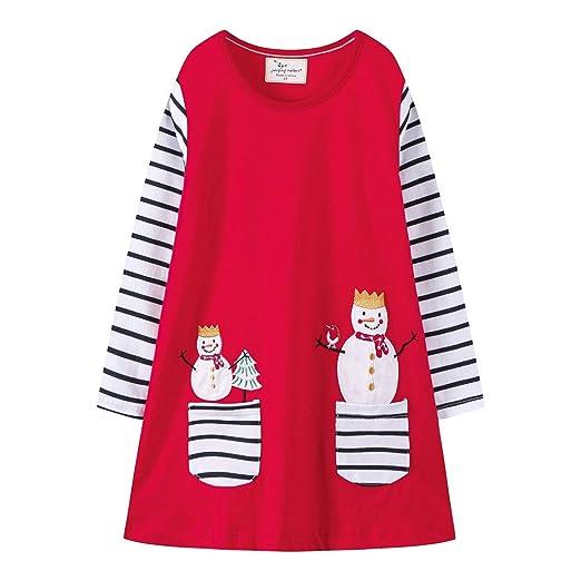 214e51c4d Amazon.com  Christmas Kids Girls Snowman Print Cotton Striped Pocket ...