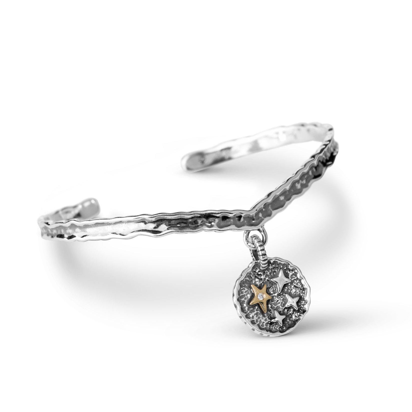 American West Jennifer Nettles Genuine .925 Sterling Silver Brass Diamond Accent Believe Cuff Bracelet