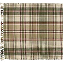 "Thyme Collection Table Runner 36"" Tan Green Red Cream Plaid Country Primitive Home D?cor"