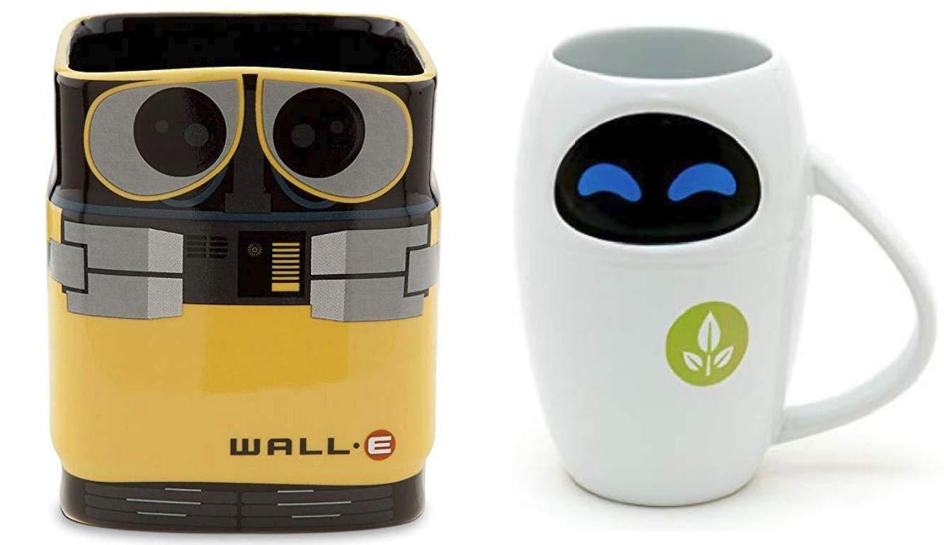 Disney Store Wall-e and Eve Ceramic 16oz 3D Mug Set