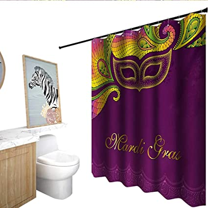 Homecoco Mardi Gras Shower Curtain With Hooks Colorful Lace Style Corner Ornaments Calligraphy And Dotted Mask