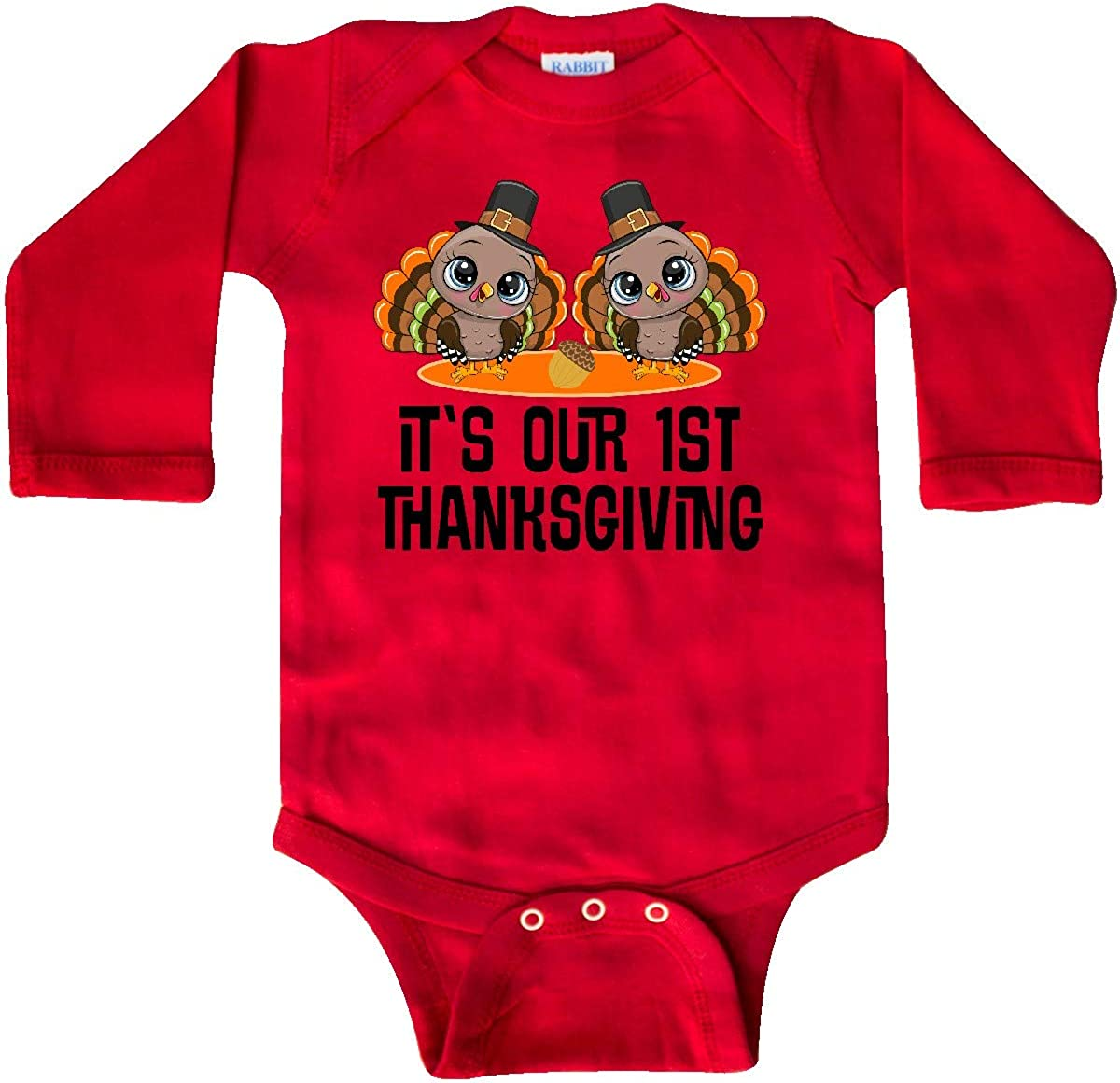inktastic Twins First Thanksgiving Turkey Long Sleeve Creeper