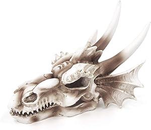 SONGWAY Fish Tank Decor Dragon Skull- Aquarium Decoration Resin Emulational Dinosaur, Cool Fish Aquarium Accessories, Betta Cave Hideaway Tunnel Ornament, Home Bar Decor 5.5×3.7×4 Inch