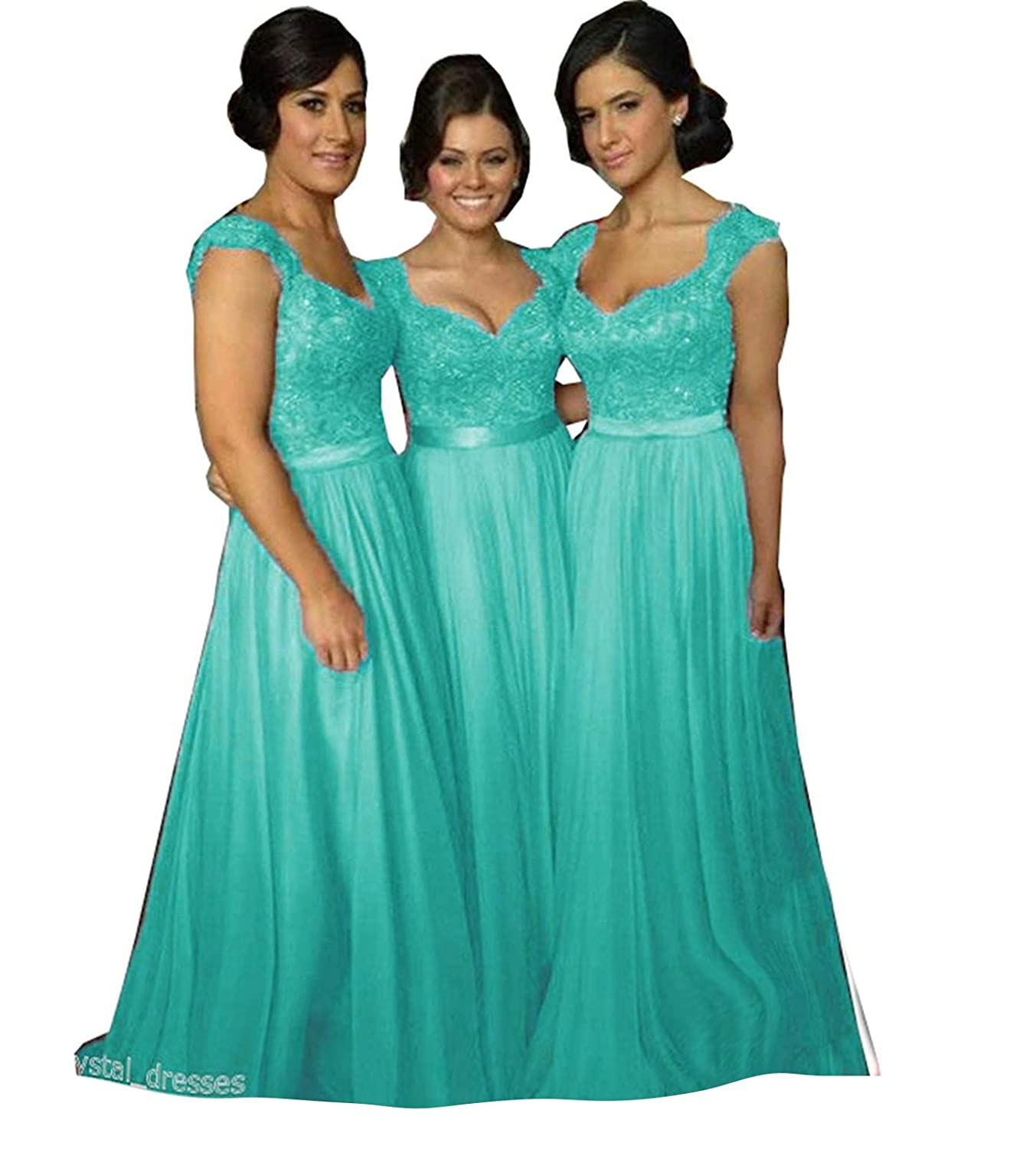Turquoise Fanciest Women' Cap Sleeve Lace Bridesmaid Dresses Long Wedding Party Gowns