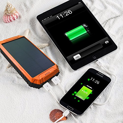 Solar-Power-Bank-PowerGreen10000mAh-Solar-Charger-2-Port-USB-External-Battery-Pack-charger-for-iPhone-66sAndriodHTC-and-More-Orange