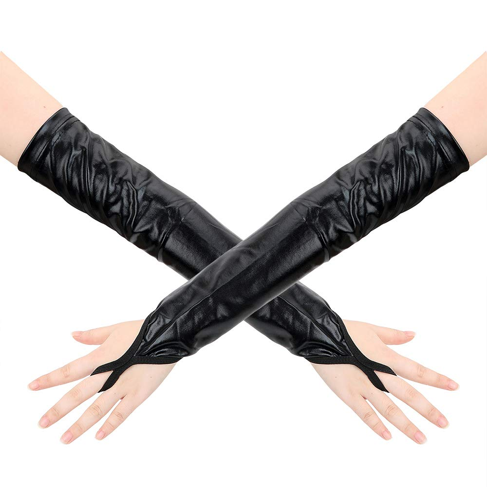 Amazon.com: Sou VIGG Sex Products for Women Black Patent Leather Gloves  Fetish Couples Supplies Sexy PVC Leather Slave SM Sexy Long Gloves As Shown  OneSize: ...
