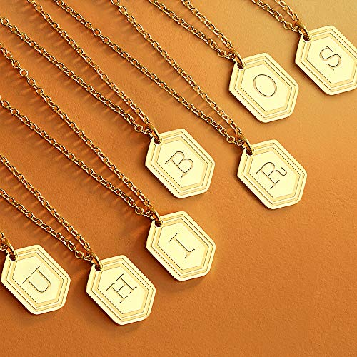 Gold Initial Necklaces for Women Girls, 14K Gold Plated Letter Pendant Necklaces Initial Layered Gold Necklaces for Women-S