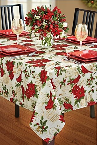 Benson Mills Holiday Cardinal Printed Fabric Tablecloth, 52 By 70 Inch