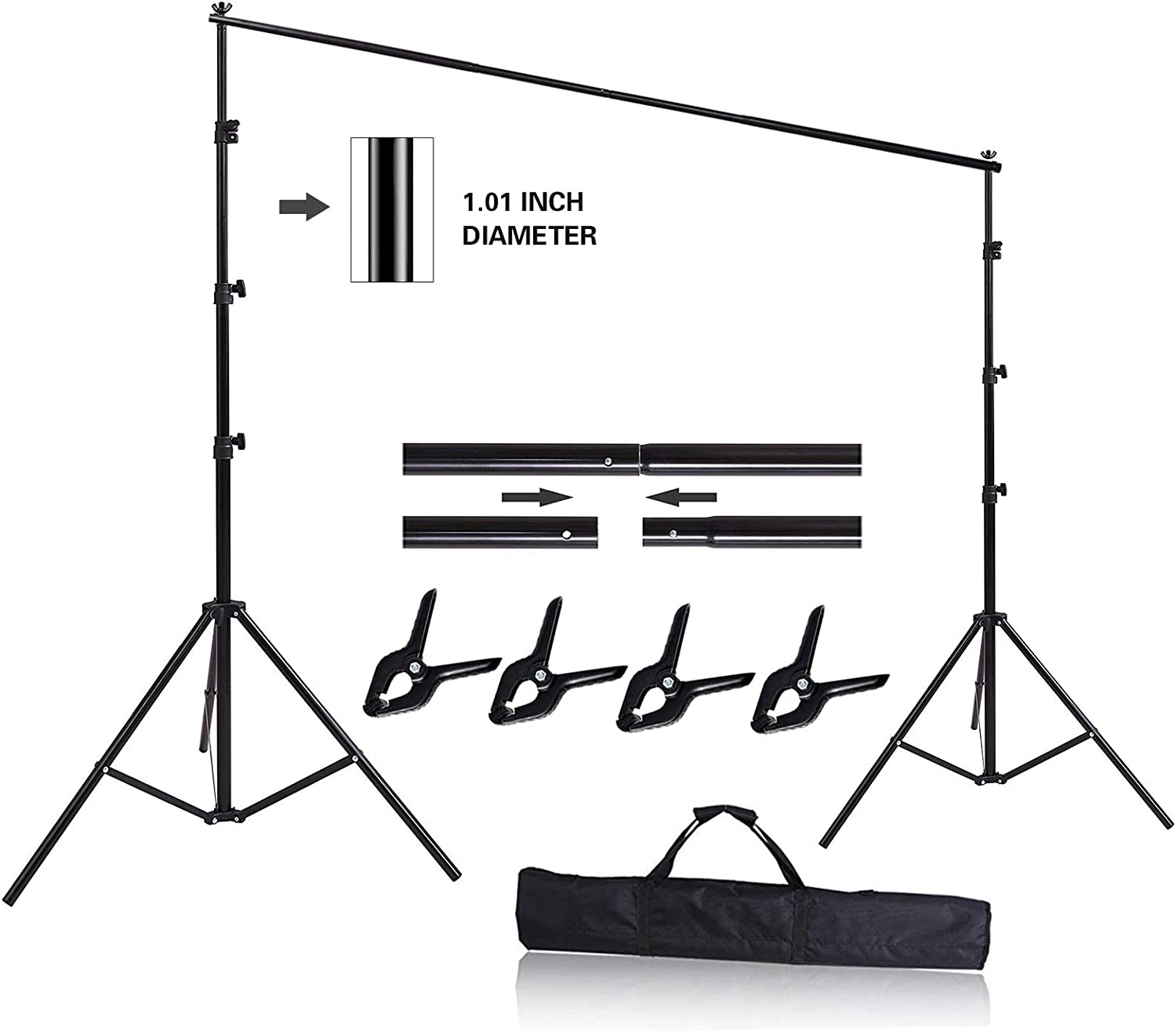 HYJ-INC 10ft x 8.5ft Adjustable Photography Backdrop Support System Photo Video Studio Muslin Background Stand Kit with Carry Bag
