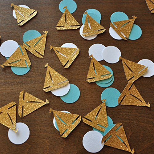 Nautical Baby Shower. Nautical Confetti. Sailboat and Circle Confetti. Nautical Party Decor. 2 Packs (50CT (Sailboat Baby Shower)