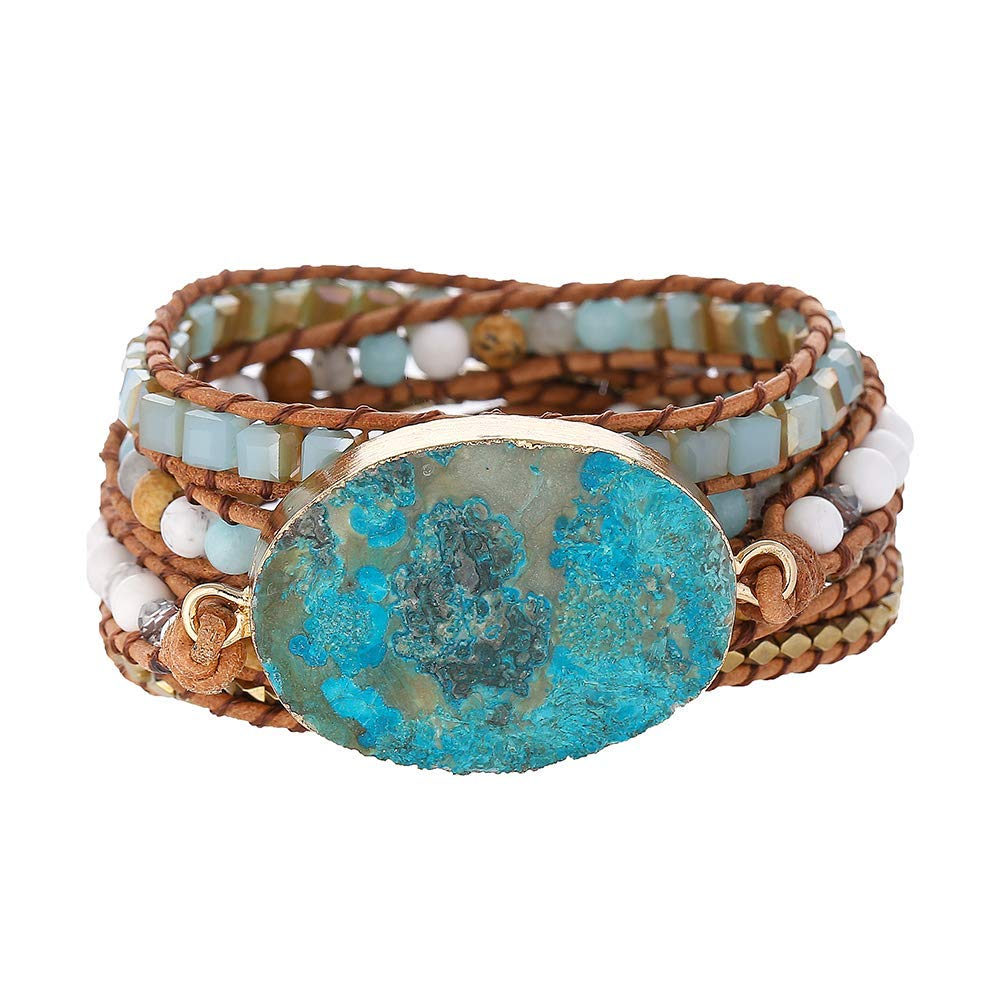 Plumiss Handmade Mixed Natural Ocean Jasper Stone Druzy 5 Strands Wraps Boho Statement Women Bracelet Collection by Plumiss