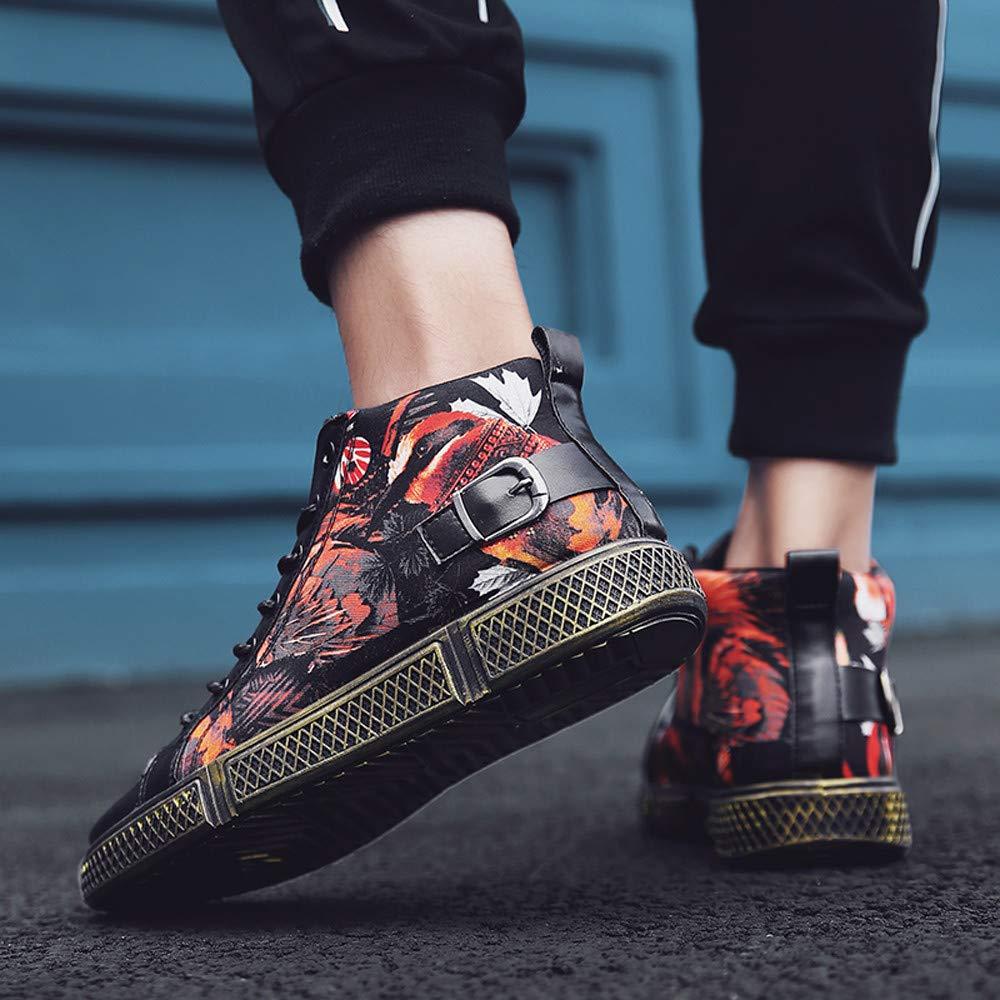 HUYURI Sneakers da Uomo con Sneakers Alte e Scarpe da Corsa con Stampa Farfalla Antiscivolo