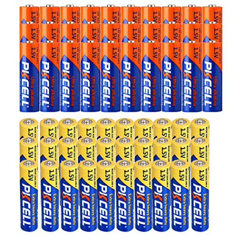 30 Pack AA Alkaline Batteries + 30 Pack AAA 1.5V Extra Heavy Duty Batteries (60 Combo Pack) ()