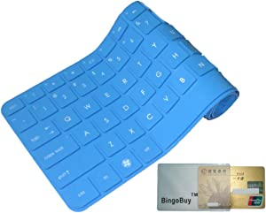 """BingoBuy Blue Silicone Keyboard Protector Skin Cover for Lenovo IdeaPad Y480, Y480p, Y470, Y410p, Y400, Y40, Y40-70, Y40-80, Z410, Z480, Z485, Z480, Z470, Z465, Z460A, Z460, Z380A, Z370, Z360, Z40, G410, G485, G480, G475, G470, G40, V485, V480, V470, Flex 14, Flex 2 (14 inch)(if your """"enter"""" key looks like """"7"""", our skin can't fit) with BingoBuy Card Case for Credit, Bank, ID Card"""