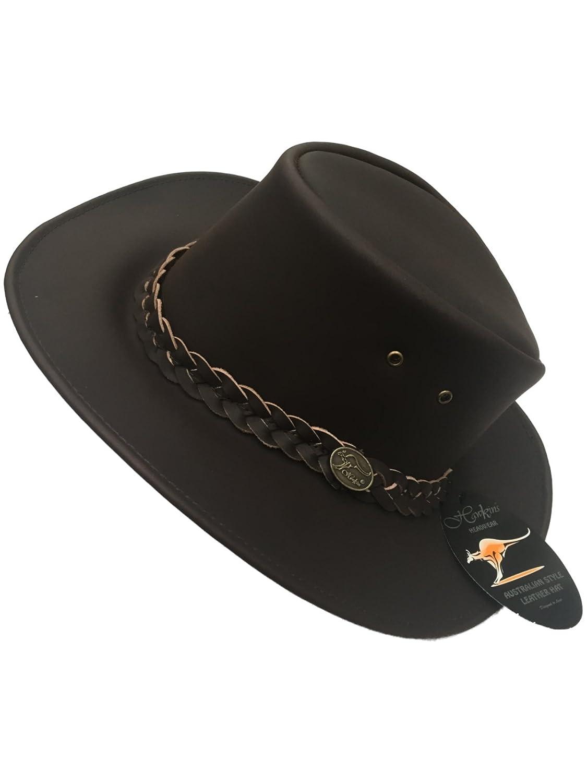 Hawkins Headwear Australian Style 100% Genuine Leather Cowboy Bush Hat / Black or Brown / S M L XL