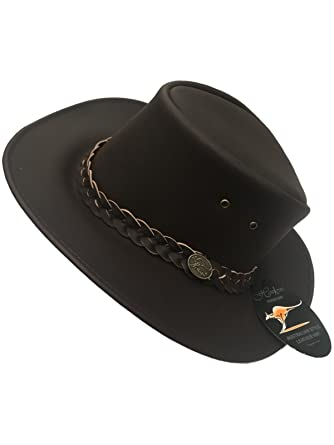 Hawkins Headwear Australian Style 100% Genuine Leather Cowboy Bush Hat    Black or Brown   a19c7377924