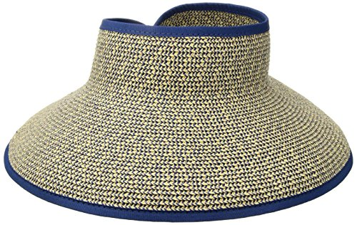 San Diego Hat Company Women's Ultrabraid Visor with Ribbon Binding, and Sweatband, Multi/Blue, One Size
