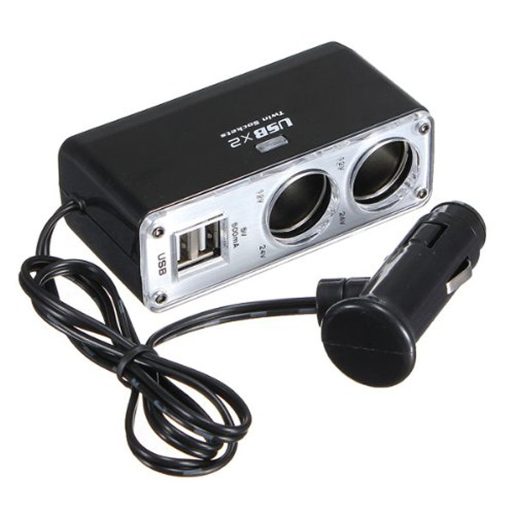 PIXNOR 2 voies de sortie de voiture allume-cigare chargeur adaptateur Splitter avec Dual-USB