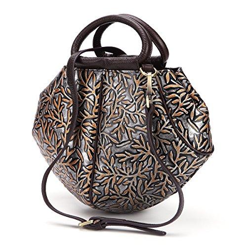 Women Crossbody Purse, Brenice Vintage Genuine Leather Handbag Embossed Shoulder Messenger Bag Silver 4.33''x 2.75''x 7.87''(LxWxH) -
